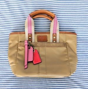 Coach nylon, leather, and suede tote